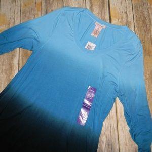NWT Philosophy Blue Dip Dye Sharkbite Tunic